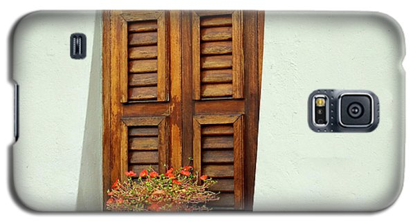 Galaxy S5 Case featuring the photograph Wood Shuttered Window, Island Of Curacao by Kurt Van Wagner