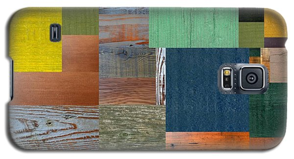 Wood With Teal And Yellow Galaxy S5 Case by Michelle Calkins