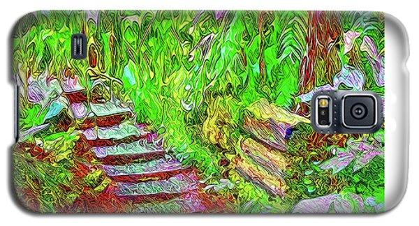 Galaxy S5 Case featuring the digital art Wooden Steps Through The Forest - Tamalpais California by Joel Bruce Wallach