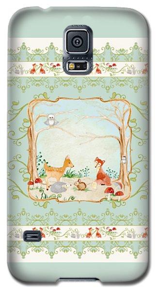 Woodland Fairy Tale - Aqua Blue Forest Gathering Of Woodland Animals Galaxy S5 Case