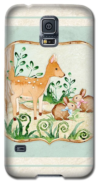 Woodland Fairy Tale - Deer Fawn Baby Bunny Rabbits In Forest Galaxy S5 Case by Audrey Jeanne Roberts
