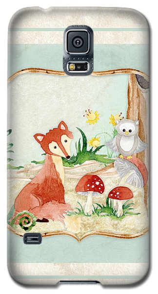 Woodland Fairy Tale - Fox Owl Mushroom Forest Galaxy S5 Case by Audrey Jeanne Roberts
