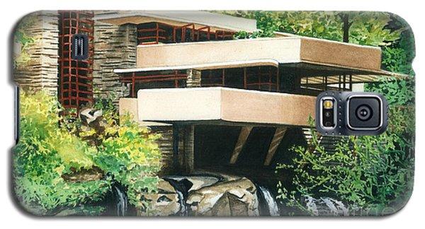 Galaxy S5 Case featuring the painting Fallingwater-a Woodland Retreat By Frank Lloyd Wright by Barbara Jewell