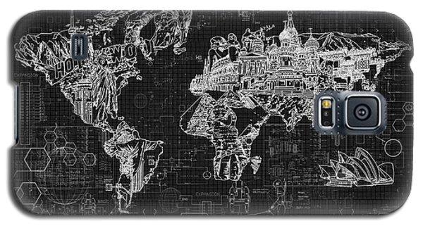 Galaxy S5 Case featuring the digital art World Map Blueprint 2 by Bekim Art
