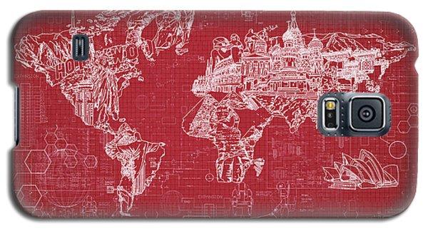 Galaxy S5 Case featuring the digital art World Map Blueprint 3 by Bekim Art