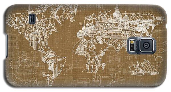 World Map Blueprint 4 Galaxy S5 Case by Bekim Art