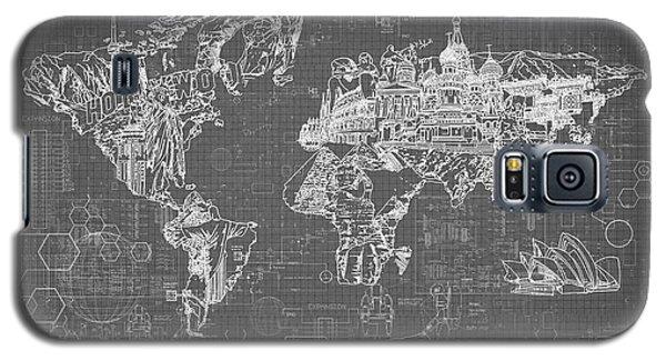 World Map Blueprint 5 Galaxy S5 Case by Bekim Art