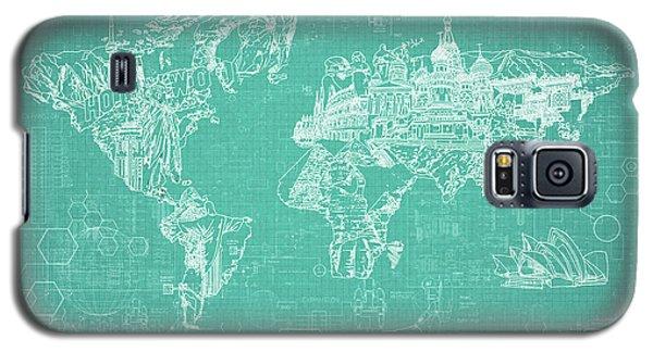 Galaxy S5 Case featuring the digital art World Map Blueprint 7 by Bekim Art