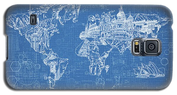 World Map Blueprint Galaxy S5 Case by Bekim Art