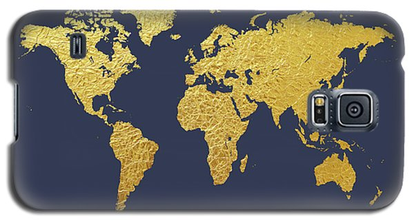 Planets Galaxy S5 Case - World Map Gold Foil by Michael Tompsett