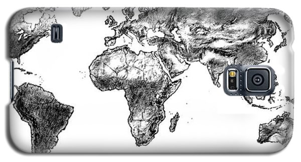 Galaxy S5 Case featuring the drawing World Map In Graphite by Heidi Kriel