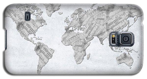 Galaxy S5 Case featuring the digital art World Map Music 10 by Bekim Art