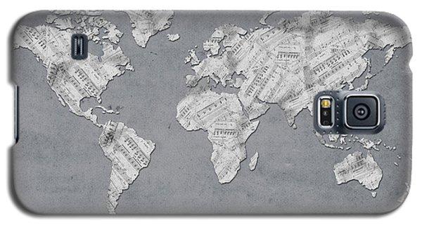 Galaxy S5 Case featuring the digital art World Map Music 11 by Bekim Art