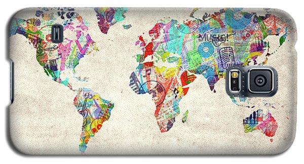 Galaxy S5 Case featuring the digital art World Map Music 12 by Bekim Art