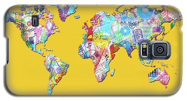 Galaxy S5 Case featuring the digital art World Map Music 13 by Bekim Art