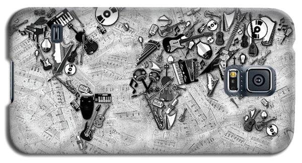 Galaxy S5 Case featuring the digital art World Map Music 2 by Bekim Art