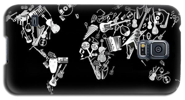 Galaxy S5 Case featuring the digital art World Map Music 5 by Bekim Art