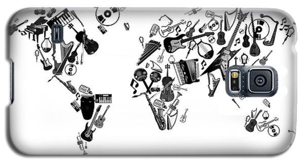 Galaxy S5 Case featuring the digital art World Map Music 7 by Bekim Art