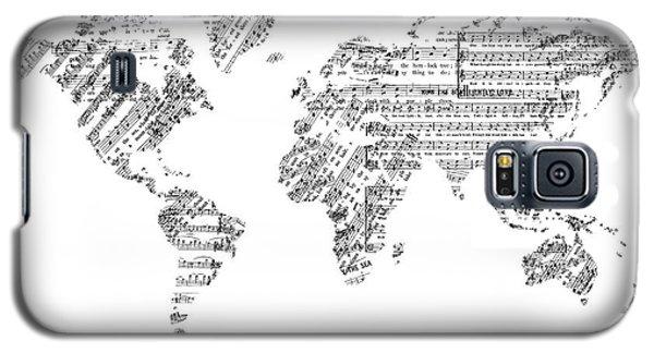 Galaxy S5 Case featuring the digital art World Map Music 8 by Bekim Art