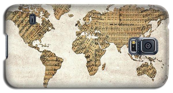 Galaxy S5 Case featuring the digital art World Map Music 9 by Bekim Art