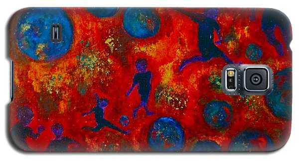 Galaxy S5 Case featuring the painting World Soccer Dreams 2 by Claire Bull