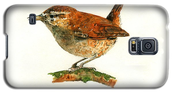 Wren Bird Art Painting Galaxy S5 Case by Juan  Bosco