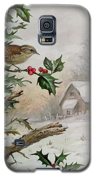 Wren In Hollybush By A Cottage Galaxy S5 Case by Carl Donner