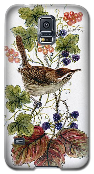 Wren On A Spray Of Berries Galaxy S5 Case by Nell Hill