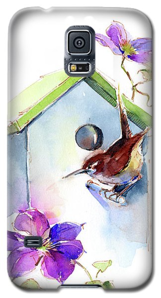 Wren With Birdhouse And Clematis Galaxy S5 Case