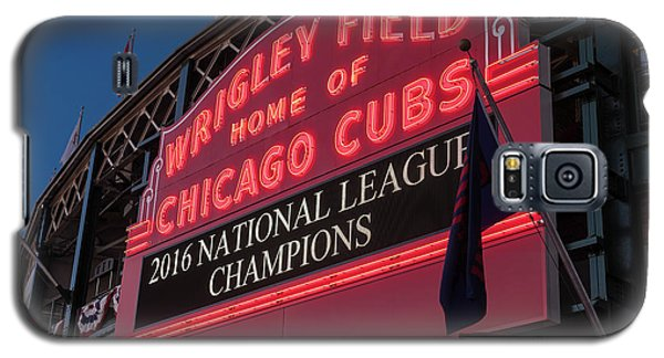 Wrigley Field Marquee Cubs National League Champs 2016 Galaxy S5 Case by Steve Gadomski