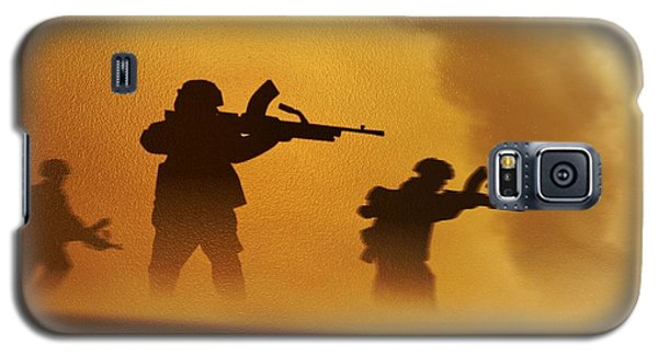 Galaxy S5 Case featuring the digital art Ww2 British Soldiers On The Attack by John Wills