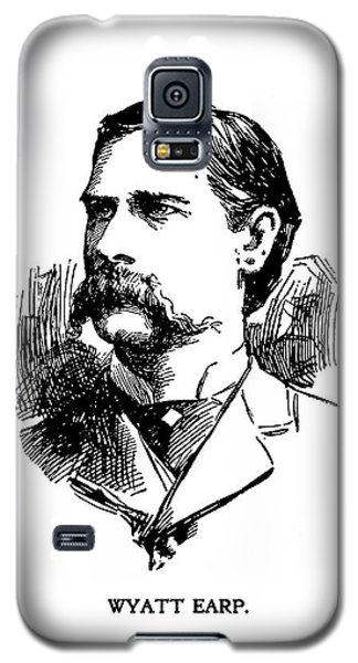Galaxy S5 Case featuring the mixed media Wyatt Earp Newspaper Portrait  1896 by Daniel Hagerman