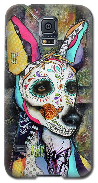 Galaxy S5 Case featuring the mixed media Xolo Mexican Hairless Day Of The Dead by Patricia Lintner