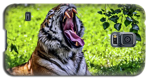 Galaxy S5 Case featuring the photograph Yawning Tiger by Joann Copeland-Paul
