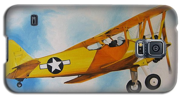 Galaxy S5 Case featuring the painting Yellow Airplane - Detail by Jindra Noewi