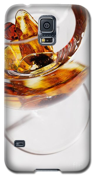 Galaxy S5 Case featuring the photograph Yellow Amber Stones In A Glass. by Andrey  Godyaykin