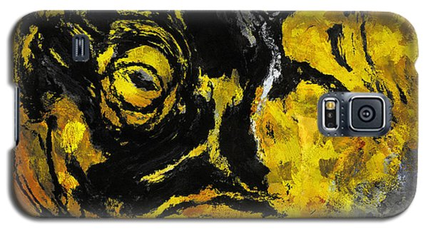 Galaxy S5 Case featuring the painting Yellow And Black Abstract Art by Ayse Deniz