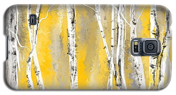 Yellow And Gray Birch Trees Galaxy S5 Case by Lourry Legarde