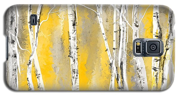 Yellow And Gray Birch Trees Galaxy S5 Case