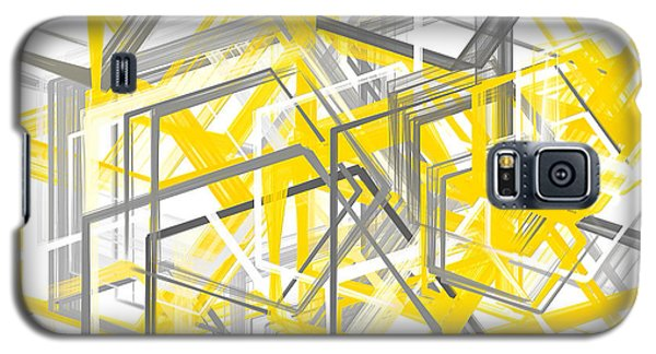 Yellow And Gray Geometric Shapes Art Galaxy S5 Case by Lourry Legarde