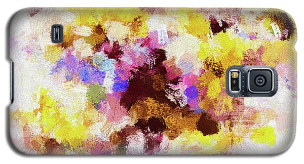 Galaxy S5 Case featuring the painting Yellow And Pink Abstract Painting by Ayse Deniz