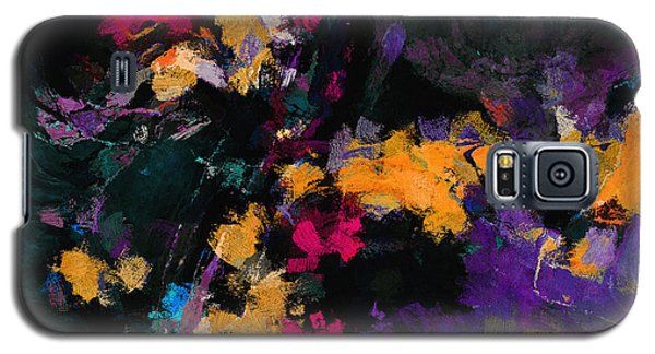 Galaxy S5 Case featuring the painting Yellow And Purple Abstract / Modern Painting by Ayse Deniz