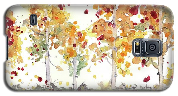 Galaxy S5 Case featuring the painting Yellow Aspens by Dawn Derman