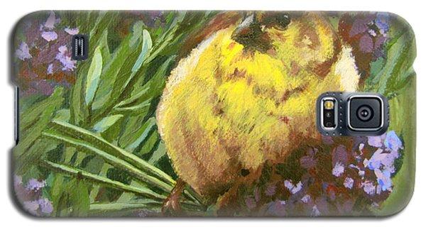 Galaxy S5 Case featuring the painting Yellow Bird by Karen Ilari