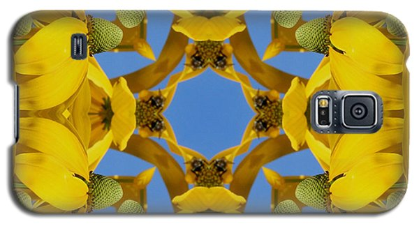 Galaxy S5 Case featuring the photograph Yellow Coneflower Kaleidoscope by Smilin Eyes  Treasures