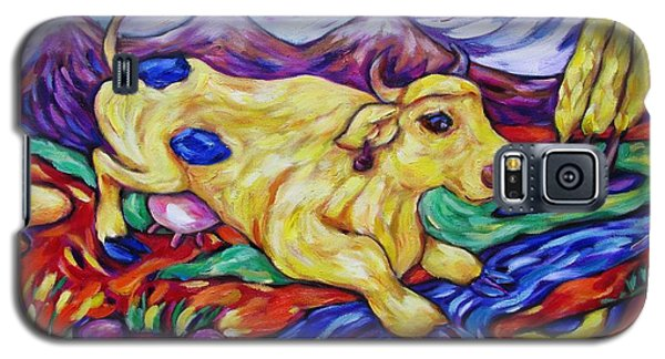 Yellow Cow Jumps The Creek Galaxy S5 Case