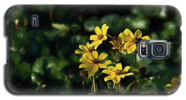 Galaxy S5 Case featuring the photograph Yellow Flowers, Black Bee by Travis Burgess
