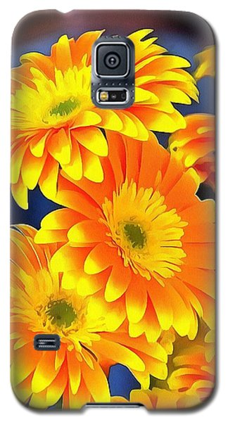 Galaxy S5 Case featuring the painting Yellow Flowers In Thick Paint by Catherine Lott