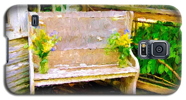 Yellow Flowers On Porch Bench Galaxy S5 Case