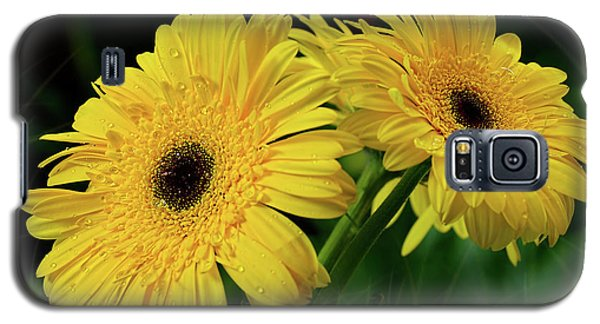 Galaxy S5 Case featuring the photograph Yellow Gerbera Daisies By Kaye Menner by Kaye Menner